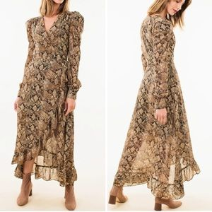 WAYF Brown Python Freeport Midi Wrap Dress Size S